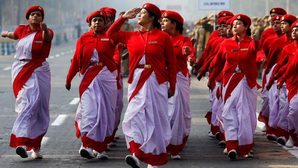 Indian civil defence personnel march during a full-dress rehearsal for India's Republic Day parade in Kolkata. (Rupak De Chowdhuri /REUTERS)