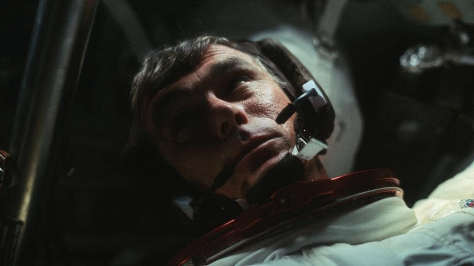 Astronaut Gene Cernan is pictured in the Command Module during the outbound trip from the moon during the Apollo 17 mission in this December 1972 file photo. (NASA/REUTERS)
