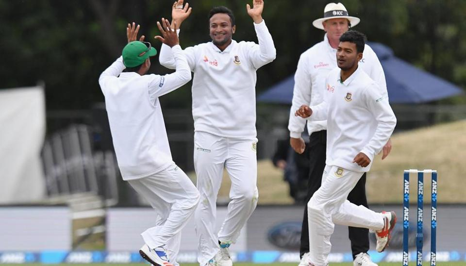 Bangladesh all-rounder Shakib Al Hasan celebrates after removing Mitchell Santner on Day 2 of the second Test against New Zealand in Christchurch on Saturday. Shakib's three quick strikes helped fightback against the hosts.