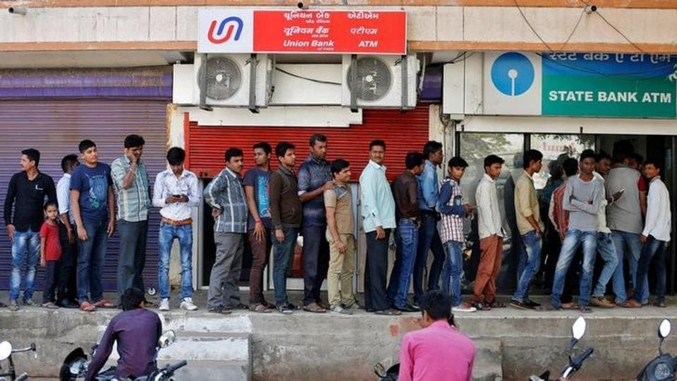 Long queues of people were a common sight at ATMs and banks within the first month of demonetisation.