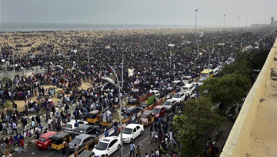 Protestors participate in an agitation to lift the ban on Jallikattu at Marina Beach in Chennai.