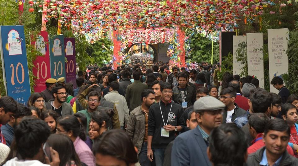 Visitors on the third day of the Jaipur Literature Festival at Diggi Palace, Jaipur, on Saturday.
