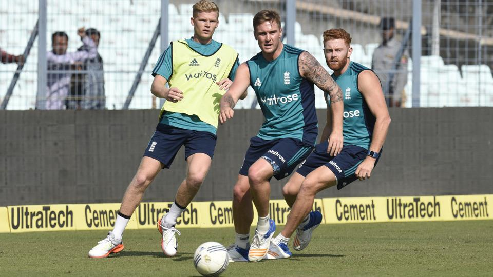 England cricketers play football during a training session ahead of their third ODI against India in Kolkata,on Saturday.