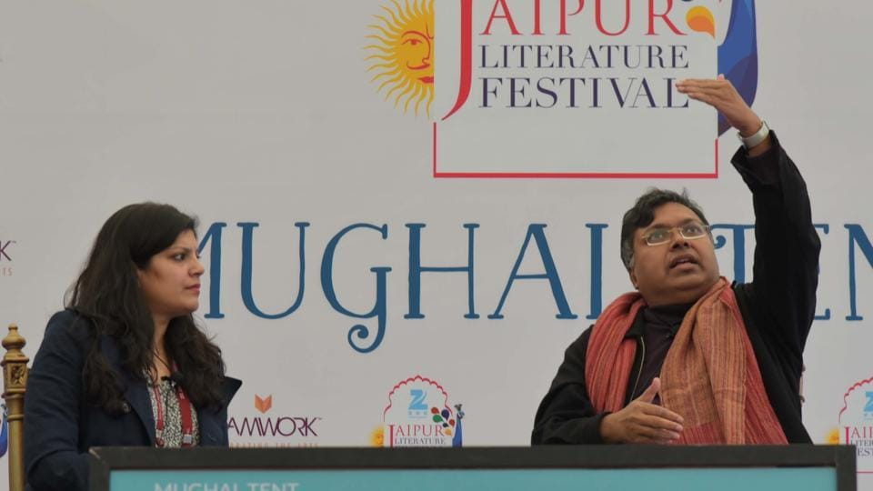 Devdutt Pattanaik talking about his book Olympus during a session at the Jaipur Literature Festival in Jaipur on Saturday.