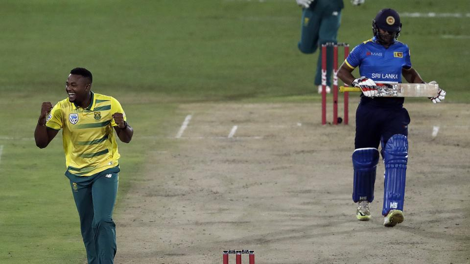 South Africa defeated Sri Lanka by 19 runs in a rain-affected Twenty20 International in Centurion to take a 1-0 lead in the three-match series.