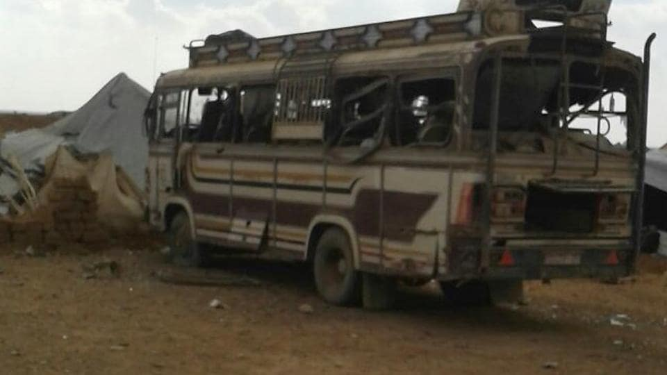 Vehicle damaged after a car bomb attack in the Rukban camp for displaced Syrians on the Syria-Jordan border on Saturday.