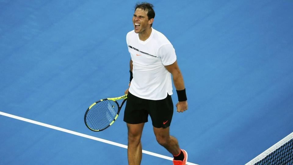 Rafael Nadal celebrates after winning his third round match against Germany's Alexander Zverev in Australian Open. (REUTERS)