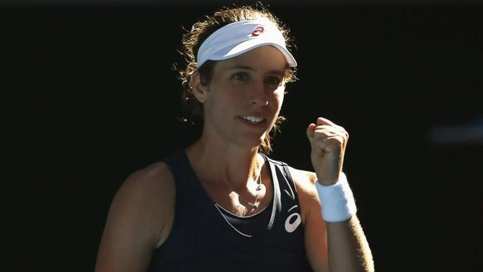 Johanna Konta cruised into the Australian Open fourth round after beating Caroline Wozniacki 6-3, 6-1.