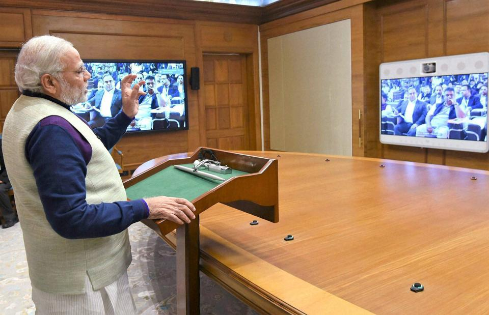 Prime Minister Narendra Modi addresses the conference of Central and state/ UT ministers and secretaries of tourism, culture and sports at Rann of Kutch, through video conferencing, in New Delhi on Friday.