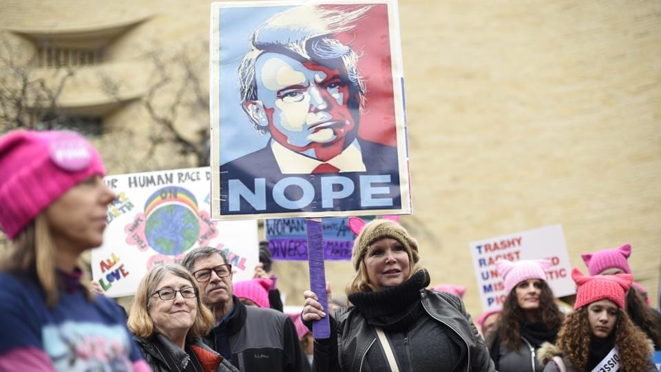 Participants attend the Women's March in Washington's Independence Avenue on January 21, 2017. Thousands are massing on the National Mall for the Women's March, and they're gathering, too, in spots around the world.
