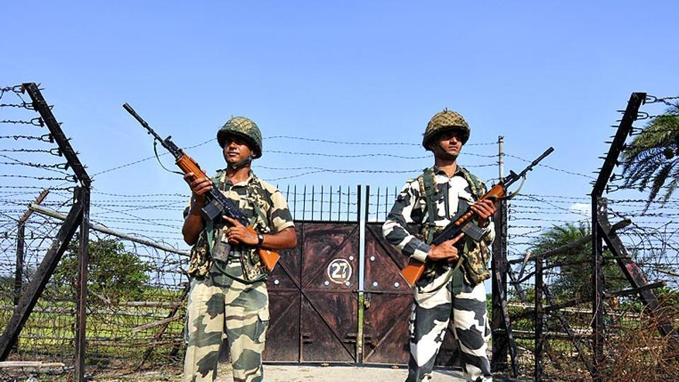 BSF officials at the Indo-Bangladesh border in Nadia, West Bengal.
