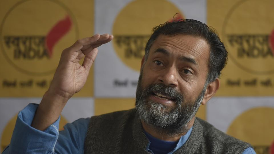 Swaraj India founder Yogendra Yadav interacts with reporters on Saturday. Yadav alleged that the AAP government was making false claims about work done in the education sector.