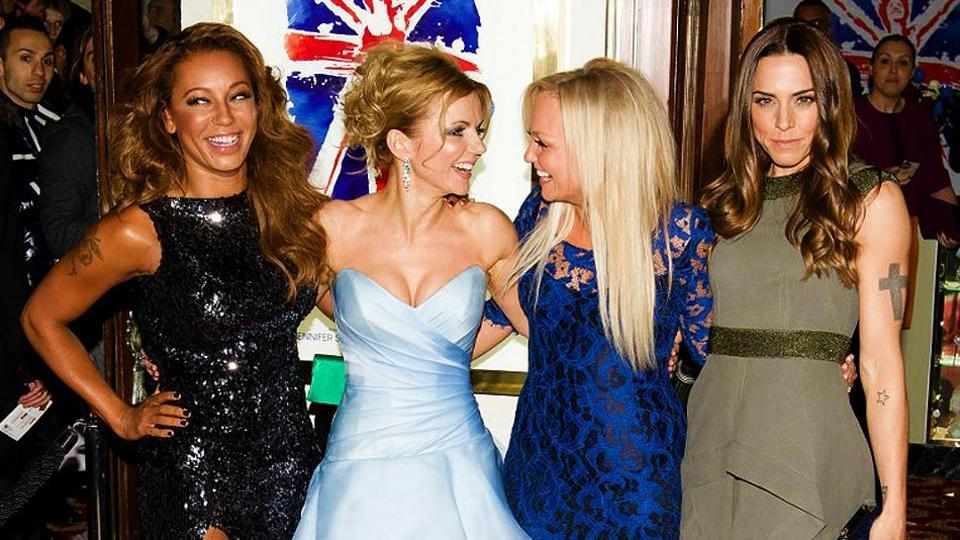The former Spice Girls member (second from left) took to social media to announce the arrival of her second child with her husband Christian Horner.