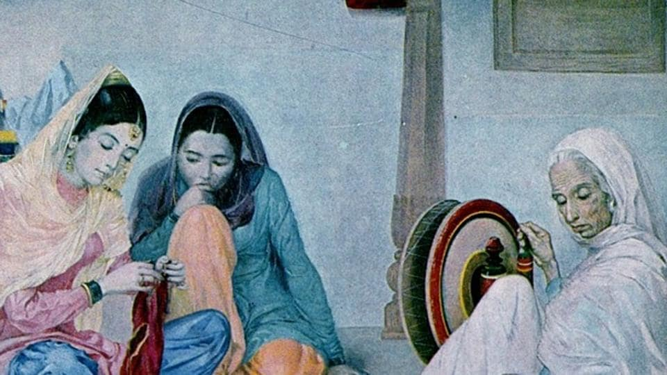 Women at work: A painting by Sobha Singh.