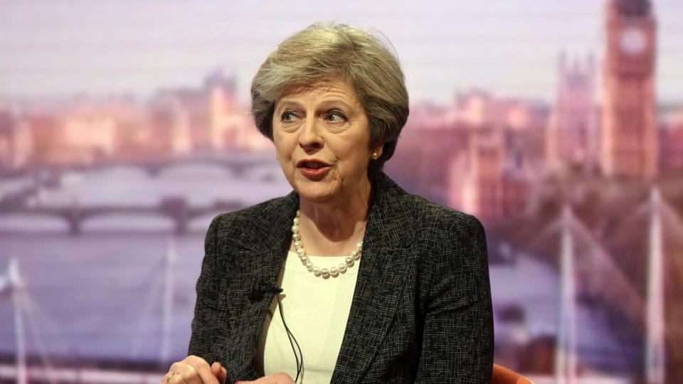 Britain's Prime Minister Theresa May speaks on the BBC's Andrew Marr Show.