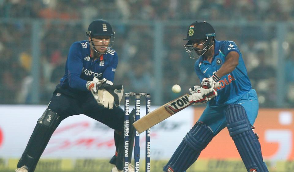Kedar Jadhav bats during the third India vs England ODI at Eden Gardens in Kolkata. Catch cricket score of India vs England 3rd ODI here.