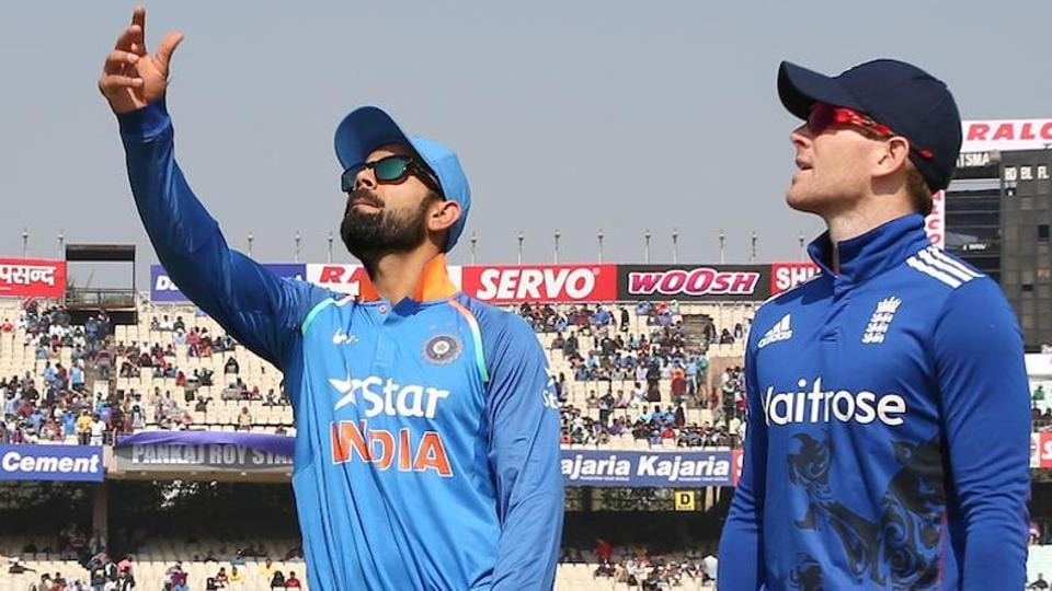 Indian skipper Virat Kohli and England captain Eoin Morgan Captain of England during the toss. (BCCI)