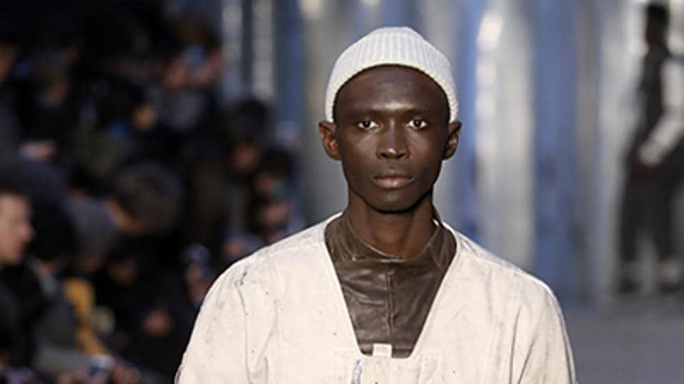 Boris Bidjan Saberi was another brand to go big on leather for Autumn / Winter 2017, teaming it with softer fabrics and plenty of buckles for a utilitarian vibe. (AFP)