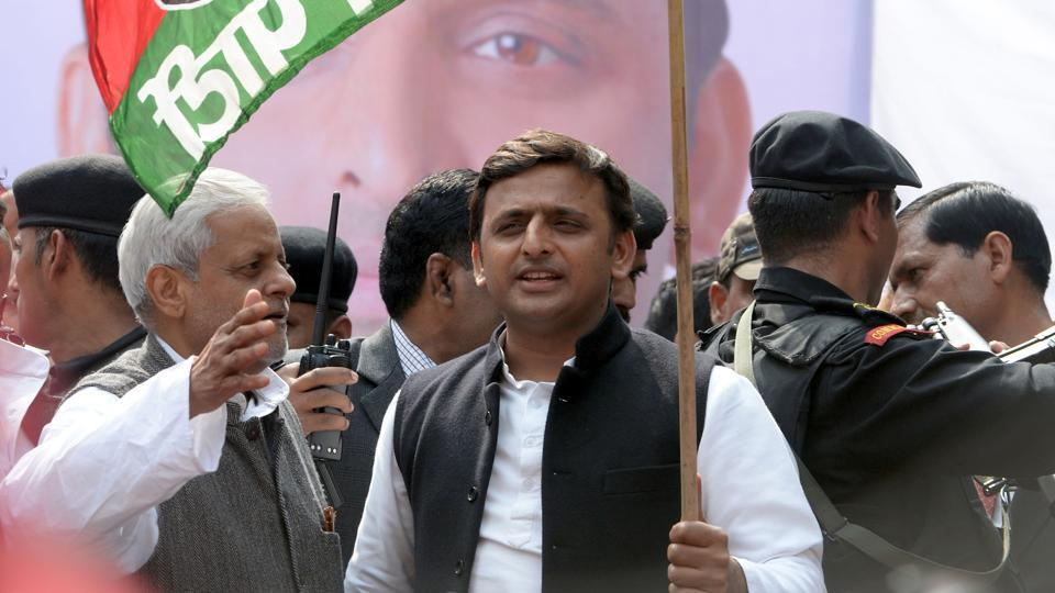 In this file photo, Uttar Pradesh chief minister Akhilesh Yadav flags off a bicycle rally in New Delhi.