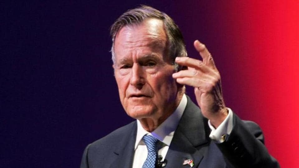A file photo of former US president George HW Bush speaking at the World Leadership Summit in Abu Dhabi, United Arab Emirates November 21, 2006.