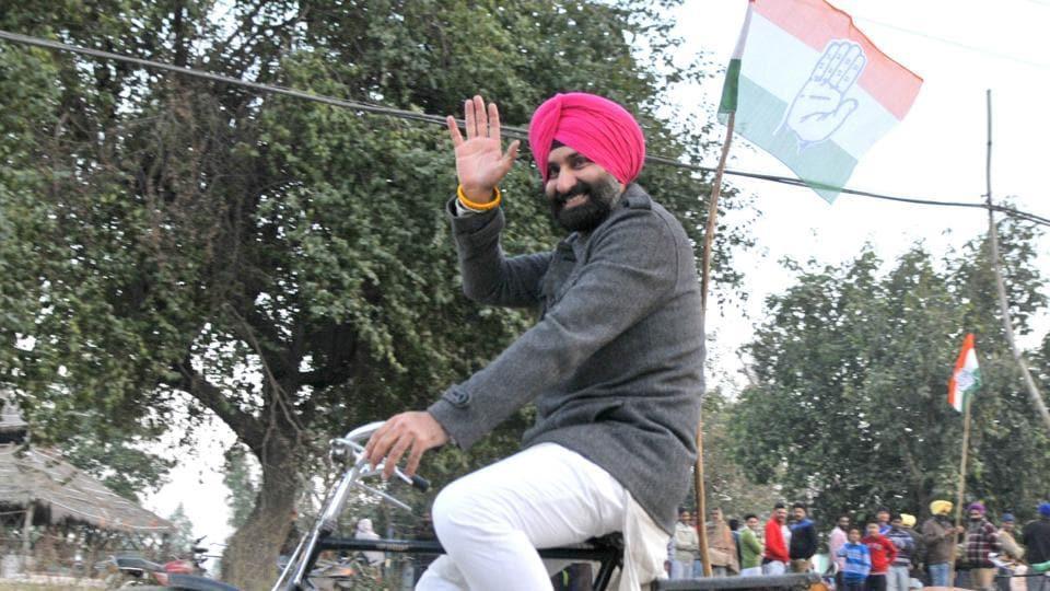 Congress candidate Barindermeet Singh Pahra during campaigning.
