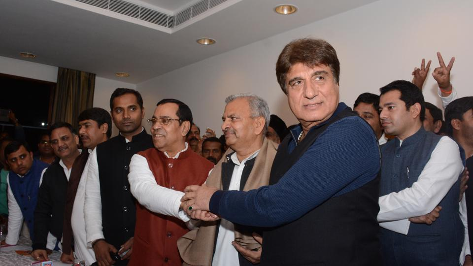Congress state president Raj Babbar at a joint press conference with Samajwadi state president Narsh Uttam in Lucknow on  January 22, 2017. Both parties will contest the upcoming UP election together.