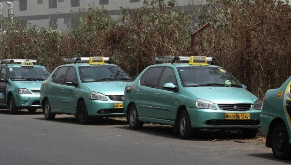 Meru Cabs parked outside their office at Mindspace, Malad West in Mumbai.