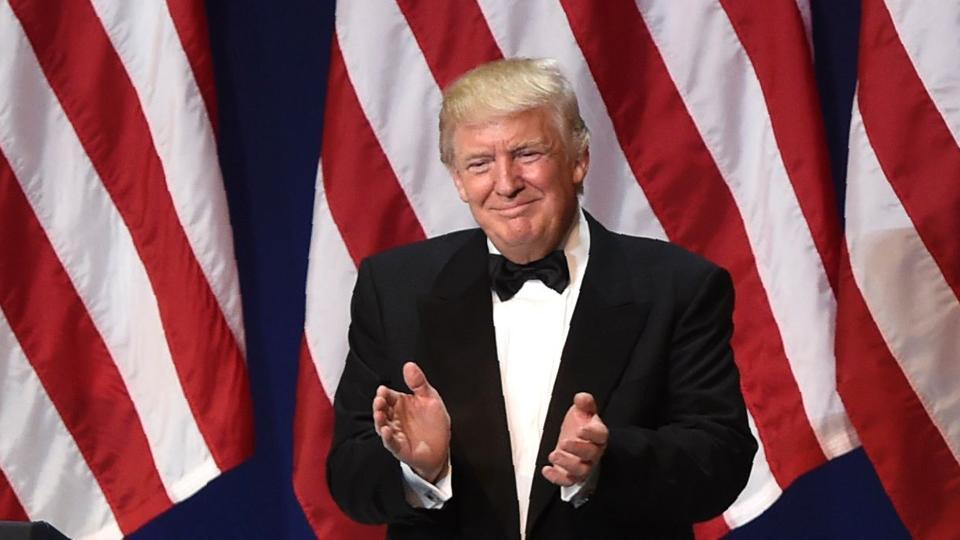 US president Donald Trump during the Salute to Our Armed Services Inaugural Ball at the National Building Museum in Washington, DC, on January 20, 2017.