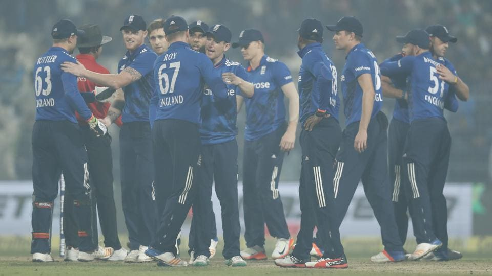England team celebrates after wining their third one day international cricket match against India at Eden Gardens in Kolkata. (AP)