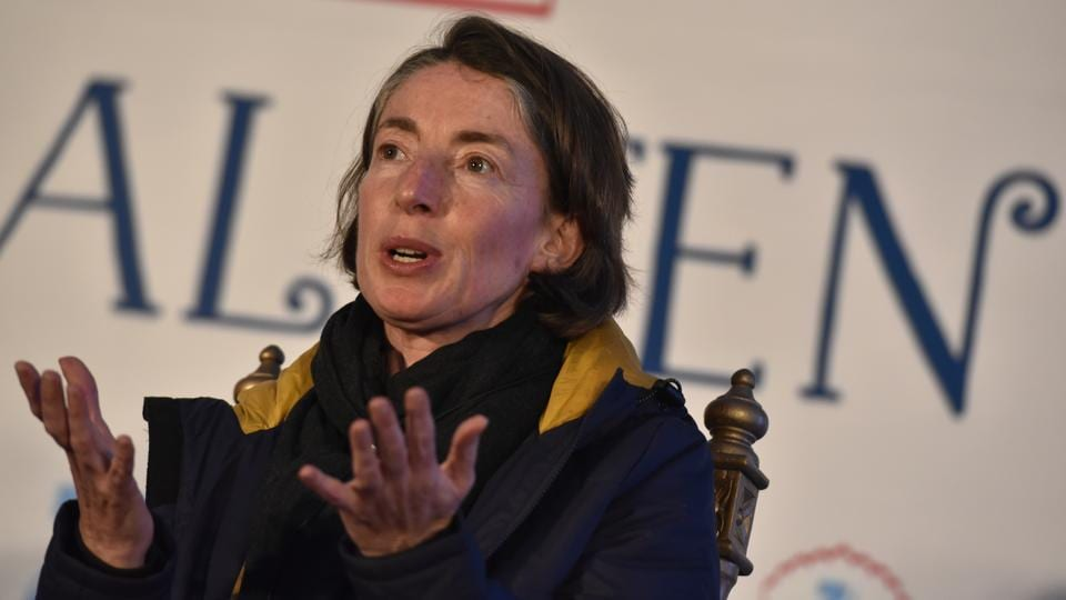 British political expert Emma Sky during the session Writing the self : The Art of Memoir at the Jaipur Literature Fest 2017 on Sunday.