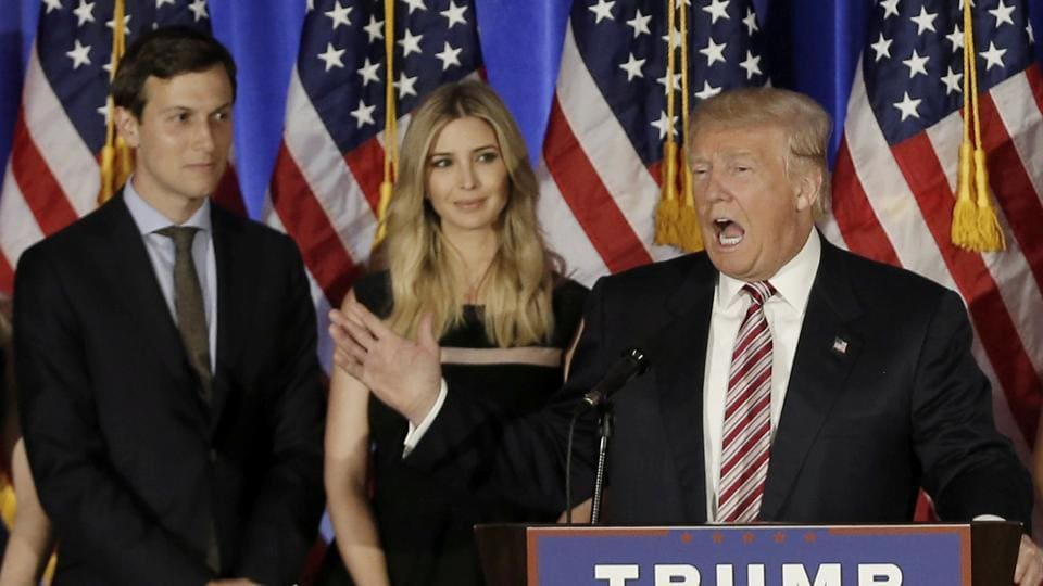 Donald Trump with his son-in-law Jared Kushner (L) and his daughter Ivanka during an election rally.