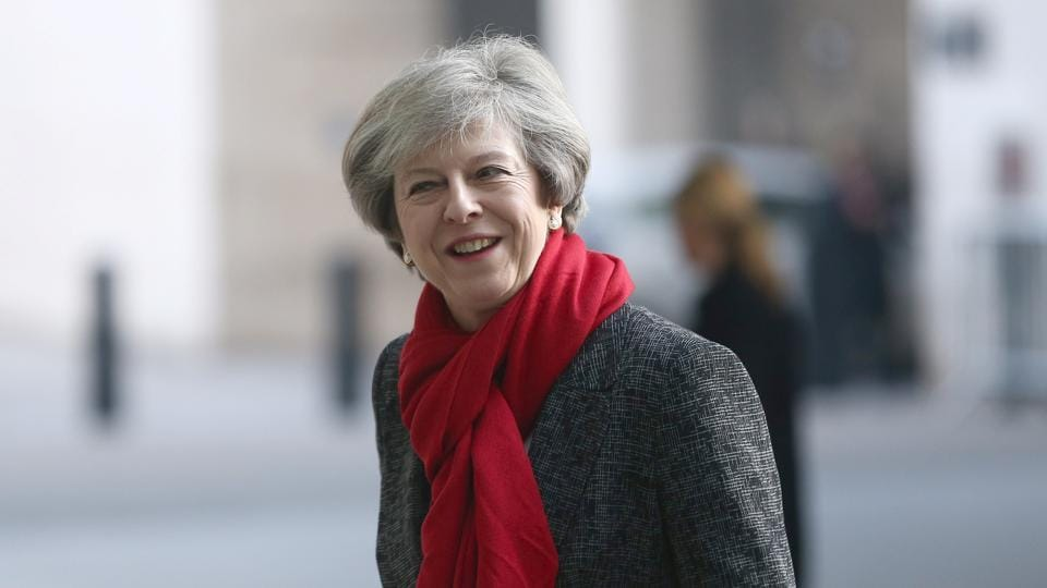 Britain's Prime Minister Theresa May arrives at the BBC's Broadcasting House in London.