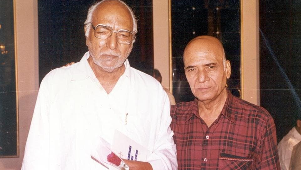 Lyricist Naqsh Lyallpuri (left) with music composer Khayyam. (HT Archives)