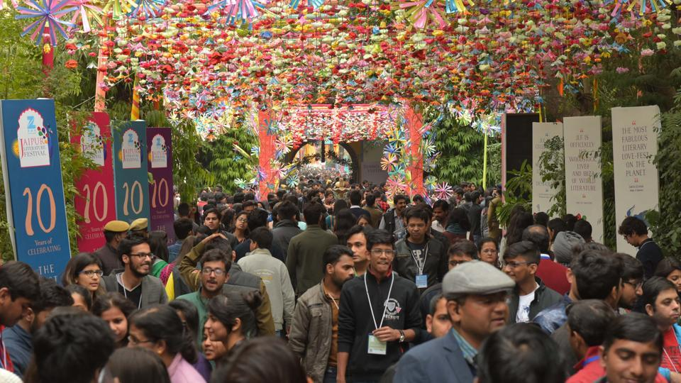 Visitors on the third day of Jaipur Literature Festival, at Diggi Palace, in Jaipur, Rajasthan.