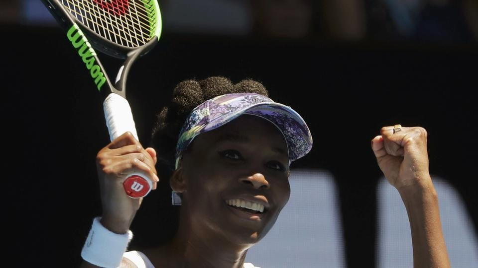 Venus Williams exults after winning her fourth round match against Germany's Mona Barthel at the Australian Open on Sunday.