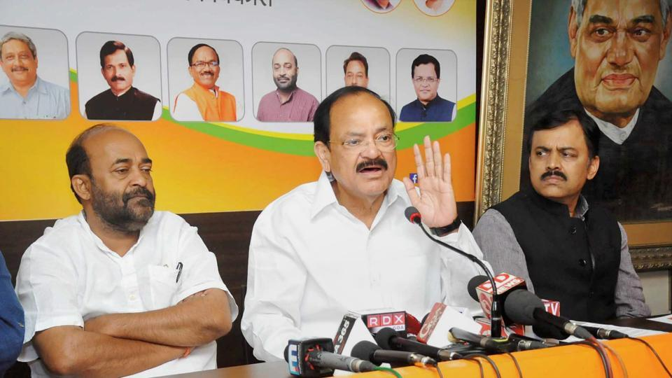 Union minister for information and broadcasting M Venkaiah Naidu addresses a press conference in Panaji in Goa.