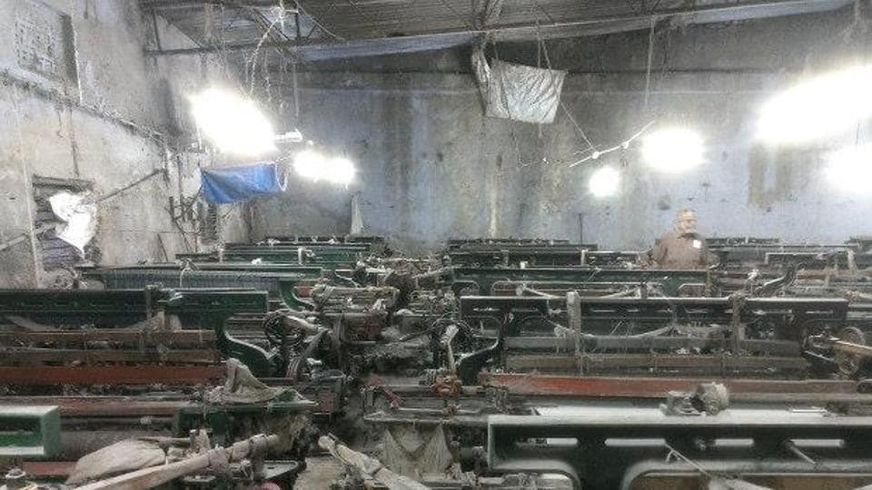Power looms in Bhiwandi, Maharashtra, that have not been operational for six months now.
