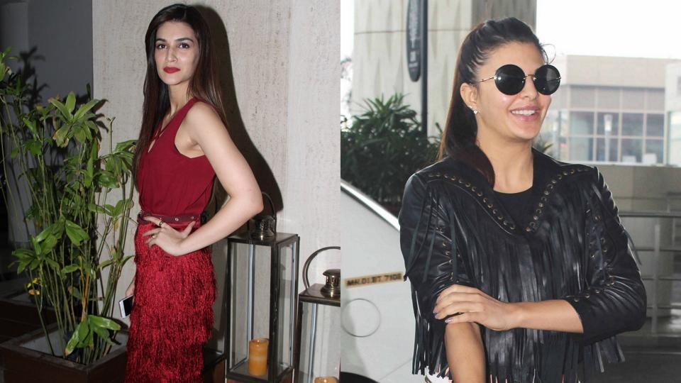 From minis and sheaths to stylish separates — fringes are taking over celebrity wardrobes. Here are actors Kriti Sanon and Jacqueline Fernandez acing the trend.