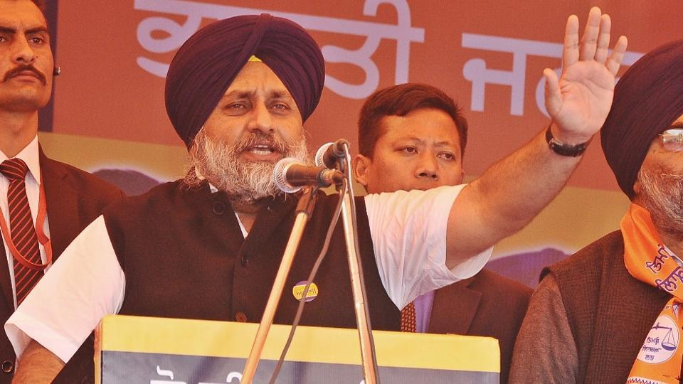 Sukhbir Singh Badal  addressing a rally in Sirhind.