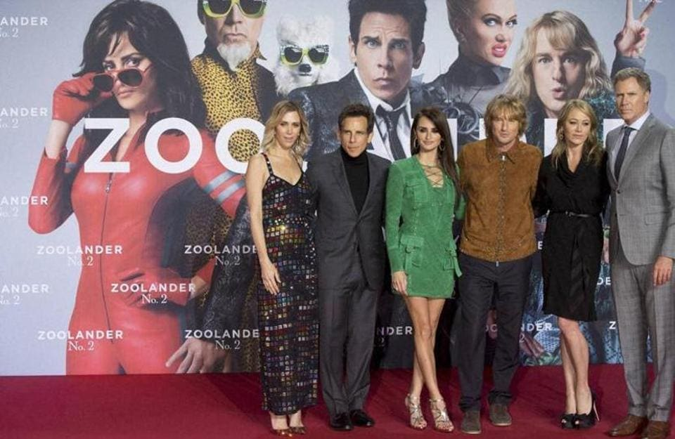 The ensemble cast of the comedy sequel Zoolander No 2 at its premiere in February 2016.