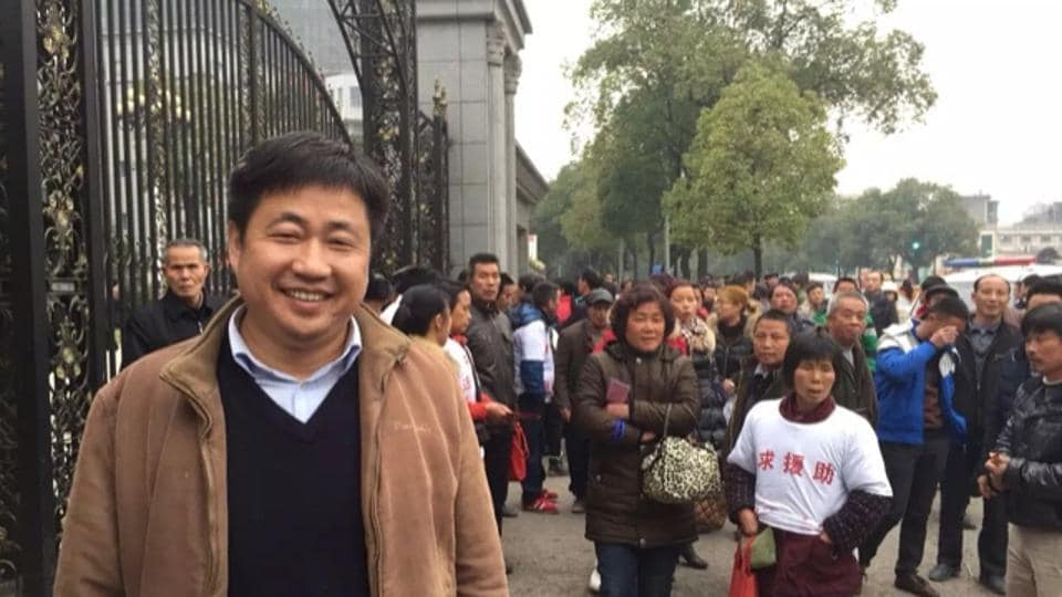 """After being picked up by security agents on July 11, 2015, Xie Yang  said he was taken to a police station, chained up and questioned about his involvement in an """"anti-party and anti-socialist"""" group of lawyers. He was forced to sit in stress positions on a stack of plastic chairs in which it was impossible for his feet to touch the floor."""