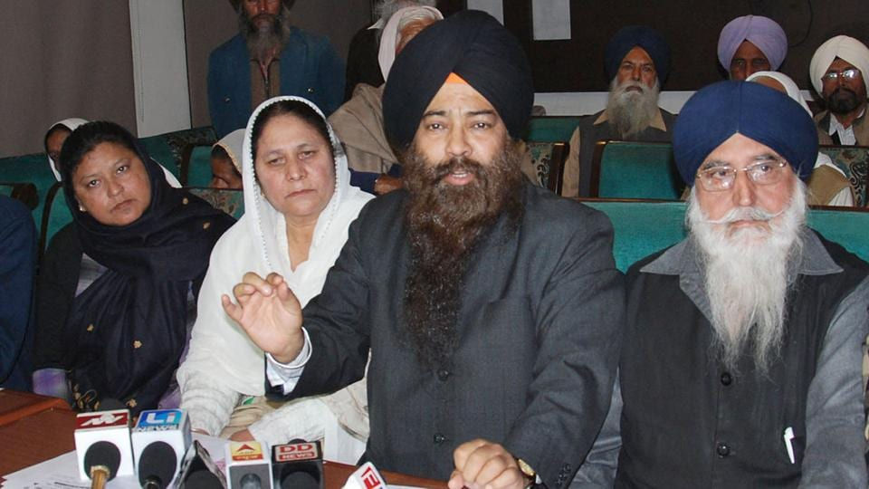 President of Anti­Sikh riots' victims body Surjit Singh, during a press conference in Amritsar on Sunday.