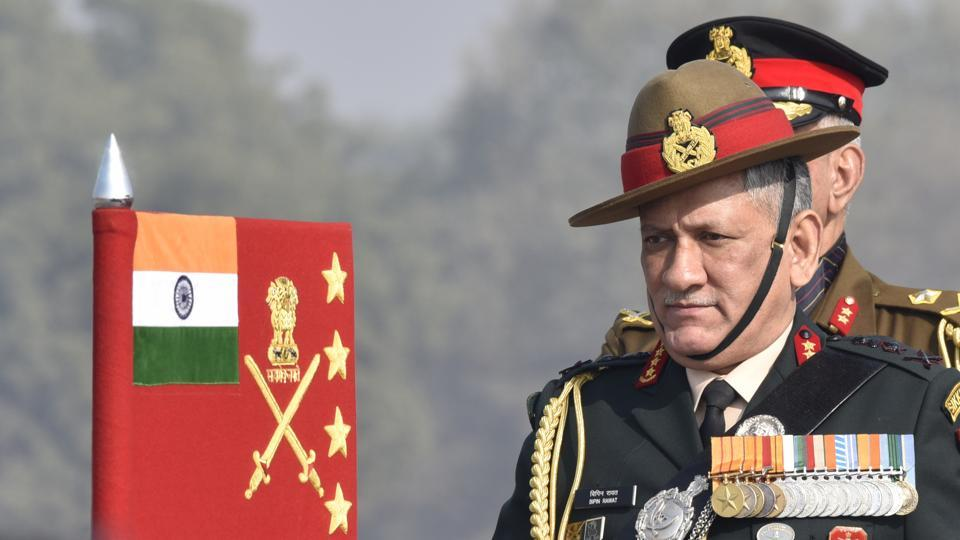 Army Chief General Bipin Rawat inspecting the guard of honour at 'Army Day' parade in Delhi Cantt in New Delhi, on January 15, 2017.