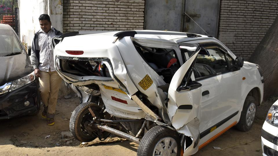 The damaged WagonR car which Nazrul Islam, the victim, was driving on Sunday night.