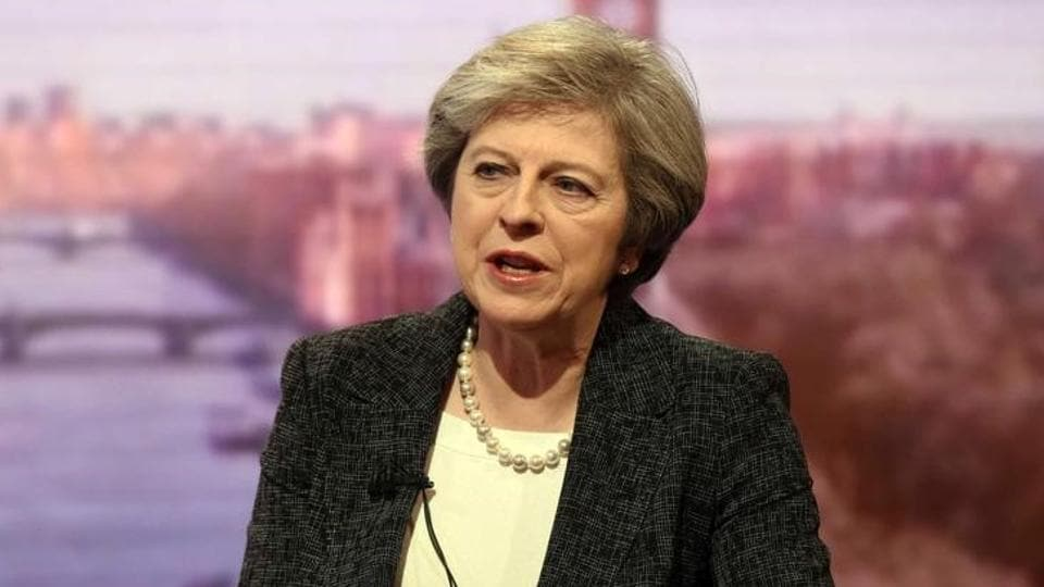 Britain's Prime Minister Theresa May speaks on the BBC's Andrew Marr Show in this photograph received via the BBC in London.