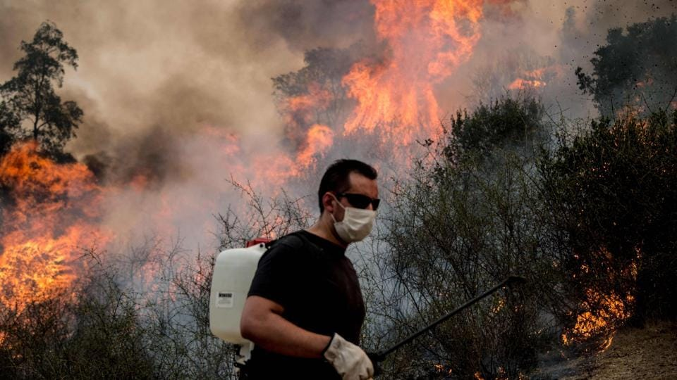 A man helps to  put out the forest fire.  As fire and emergency crews were brought in, officials evacuated 200 people from the mostly rural area south of the capital Santiago. (Martin Bernetti/AFP)