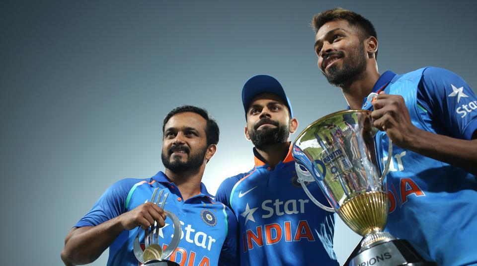 Virat Kohli (centre) with Kedar Jadhav and Hardik Pandya (extreme right) after India won the three-match ODI series 2-1 against England. The visitors scored a consolation win in the third ODI at Eden Gardens in Kolkata on Sunday.