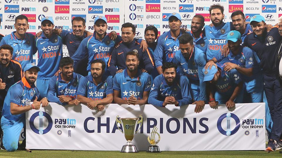 The India cricket team poses with the trophy after winning the ODI series against England. (BCCI)