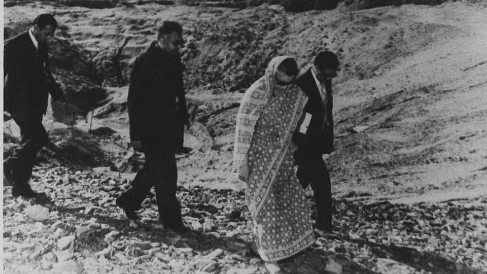 Indira Gandhi visits the site of India's first peaceful nuclear explosion in May 1974.