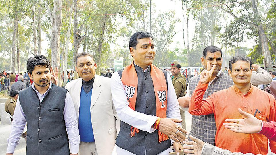 BJP's Loni candidate Nand Kishor was among those who filed their nomination papers on Monday.